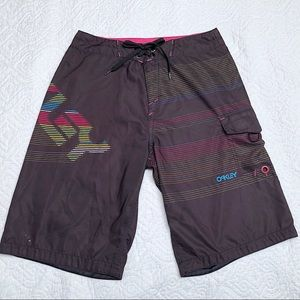 Oakley Black Striped Boardshorts Pink Green 32